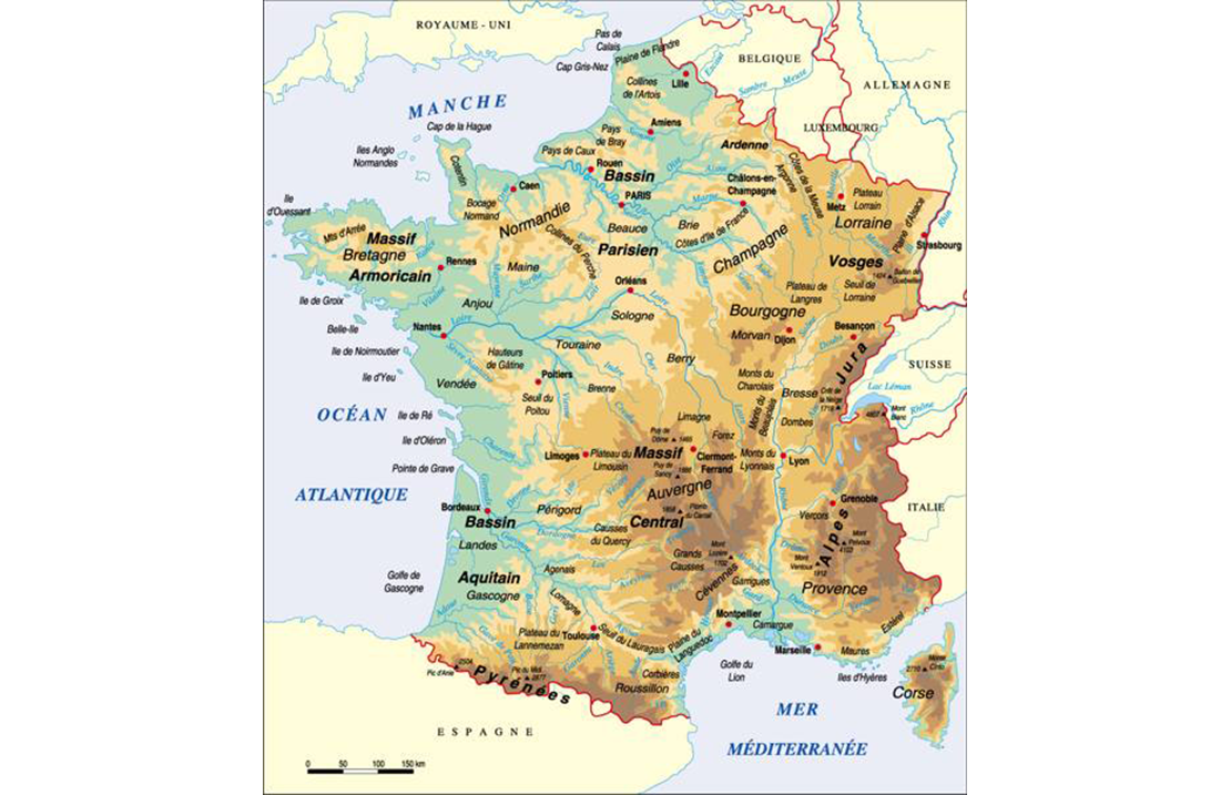 Carte France physique