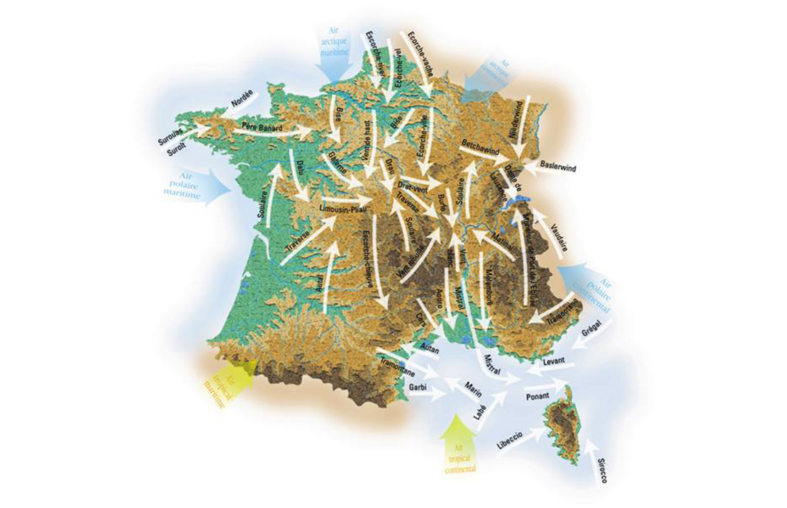 Carte des vents de France